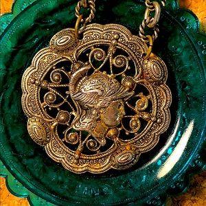 Vintage Brass Greek God Hermes Necklace